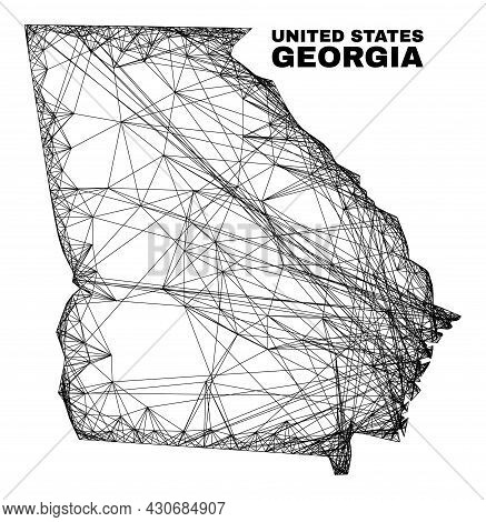 Carcass Irregular Mesh Georgia State Map. Abstract Lines Are Combined Into Georgia State Map. Wire C