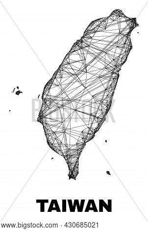 Net Irregular Mesh Taiwan Map. Abstract Lines Form Taiwan Map. Wire Carcass 2d Net In Vector Format.