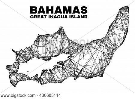 Wire Frame Irregular Mesh Great Inagua Island Map. Abstract Lines Form Great Inagua Island Map. Line