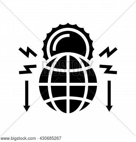 Climate Change And Destruction Of Nature Social Problem Glyph Icon Vector. Climate Change And Destru