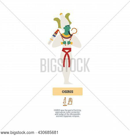 Figure Of Egyptian Ancient God Osiris Holding Of Power Symbols Crook And Flail