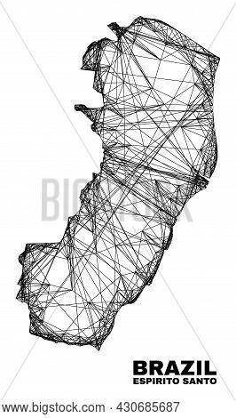 Network Irregular Mesh Espirito Santo State Map. Abstract Lines Form Espirito Santo State Map. Wire