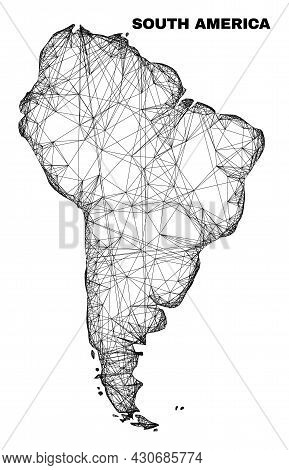 Carcass Irregular Mesh South America Map. Abstract Lines Are Combined Into South America Map. Linear
