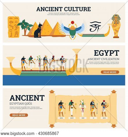 Banners Set Of Egyptian Culture And Antiquity, Flat Vector Illustration.