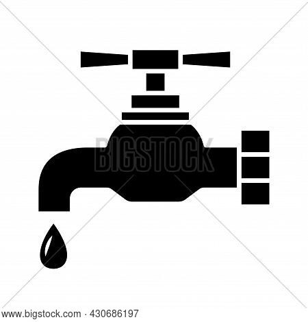 Tap Icon. Faucet With Water Drop In Glyph Style. Water Supply Line Icon For Infographic, Website Or