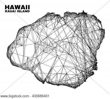 Carcass Irregular Mesh Kauai Island Map. Abstract Lines Form Kauai Island Map. Linear Carcass Flat N