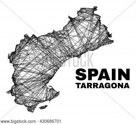 Net Irregular Mesh Tarragona Province Map. Abstract Lines Are Combined Into Tarragona Province Map.