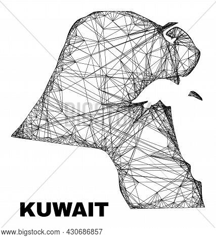 Wire Frame Irregular Mesh Kuwait Map. Abstract Lines Are Combined Into Kuwait Map. Wire Frame 2d Net