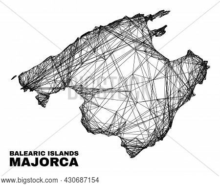 Wire Frame Irregular Mesh Majorca Map. Abstract Lines Are Combined Into Majorca Map. Wire Frame 2d N