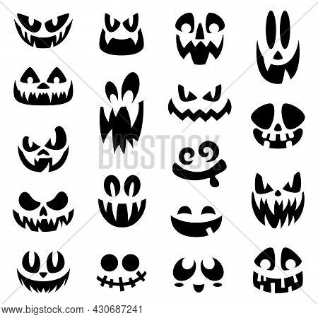 Scary Halloween Faces. Smiling Face, Halloween Pumpkin Or Ghost Cartoon Creepy Grin. Isolated Black