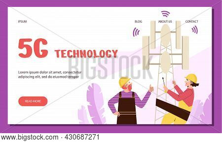 Web Banner For High Speed 5g Internet Or Cellular Communication Service Company.