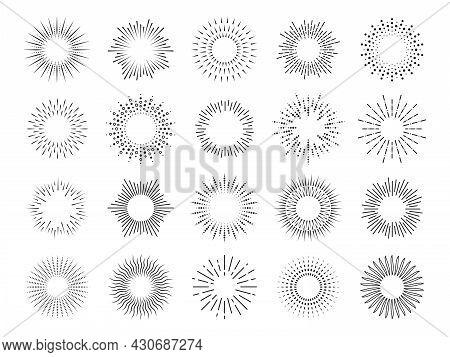 Abstract Sunburst. Shining Rounded Rays, Vintage Graphic Sun. Retro Burst, Isolated Trendy Fireworks