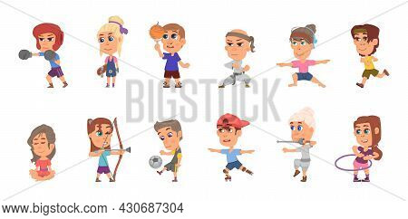 Kids Sport Characters. Student Training, Football Player And Fun Team Activity. Cartoon Children Ath