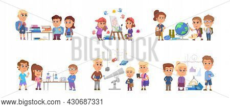 Kids On Lessons. Children Preschool Students, Cute Child Study Science. Cartoon Boy Girl With Books,