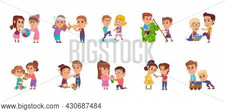 Bad And Good Children. Child Share Toy, Happy And Angry Brother With Sister. Family Conflict, Kids B