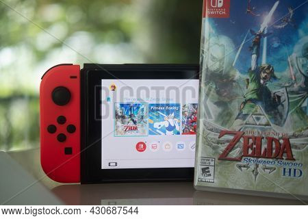 Samut Prakan, Thailand - August 23, 2021 : Nintendo Switch Gaming Console With The Legend Of Zelda: