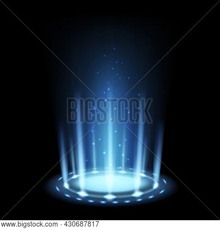 Portal Magic. Realistic Light Effect With Blue Beam And Glowing Particles. 3d Futuristic Teleport Fu