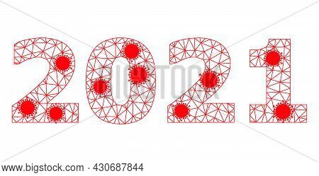 Mesh 2021 Year Digits Polygonal Icon Vector Illustration, With Infectious Items. Abstraction Is Base