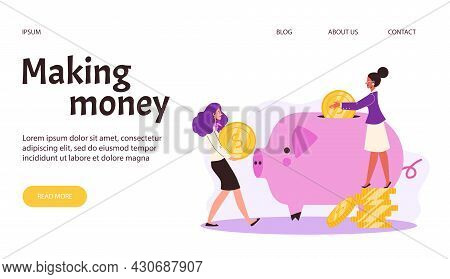 Web Banner With Concept Of Save Money, Financial Investment Or Finance Savings