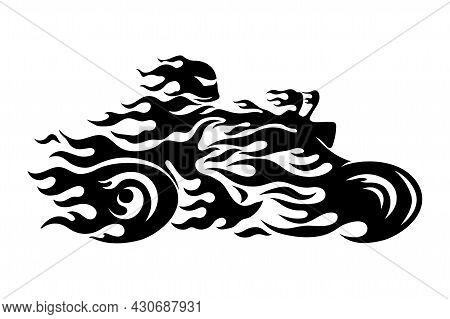 Black Abstract Fiery Motorcycle Chopper On White Background.