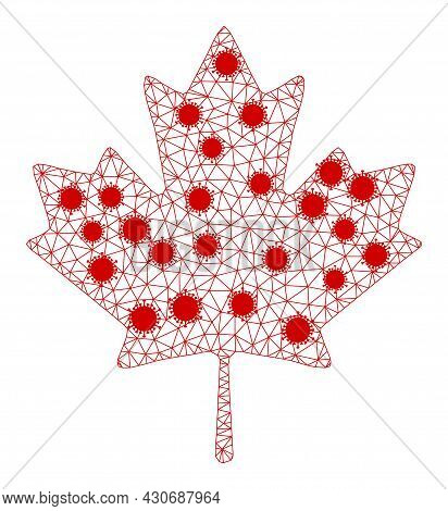Mesh Maple Leaf Polygonal Icon Vector Illustration, With Infectious Items. Carcass Model Is Created
