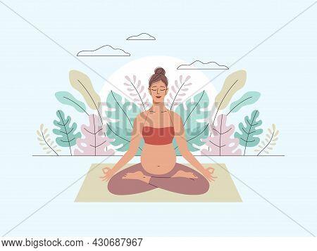 Pregnancy Woman Meditation. Yoga Lifestyle, Childbirth Preparation, Female Relax In Lotus Pose, Leav