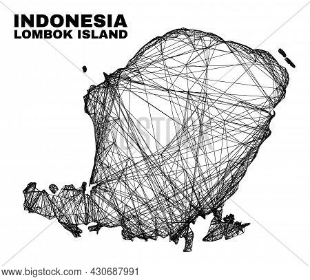 Wire Frame Irregular Mesh Lombok Island Map. Abstract Lines Are Combined Into Lombok Island Map. Wir