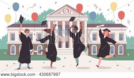 Campus Park Graduation. Happy Students Group Jumping On University Building Backdrop, Certificates I