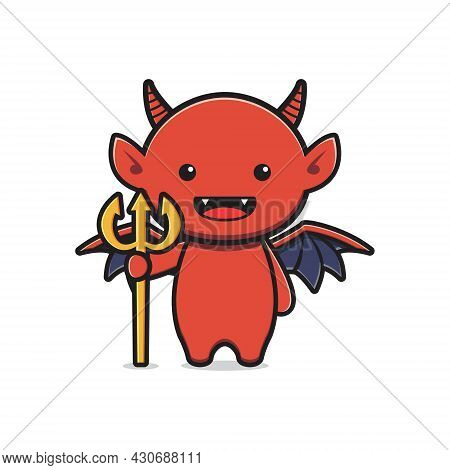Cute Devil Mascot Halloween Cartoon Icon Illustration. Design Isolated Flat Cartoon Style