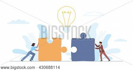 People Push Puzzle. Teamwork Successful, Idea Implementation Collaboration, Tiny Man And Woman Putti
