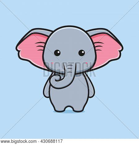 Cute Elephant Mascot Cartoon Icon Illustration. Design Isolated Flat Cartoon Style