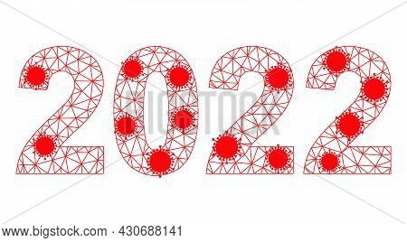 Mesh 2022 Year Digits Polygonal Symbol Vector Illustration, With Infection Elements. Carcass Model I