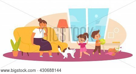 Naughty Children In Living Room. Tired Mother, Hyperactive Kids, Stressed Parent And Little Crushers