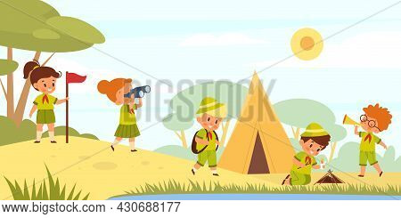 Scouts Kids In Nature. Young Tourists Go Hiking. Children In Uniform Pitch Tent And Light Campfire I