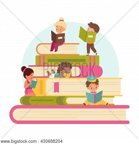 Kids Read Books. Tiny Cute Children With Big Stack Of Books, Training And Education, Pupils Read Tog