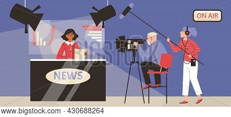 Live Broadcasting Breaking Tv News From Television Studio A Vector Illustration.