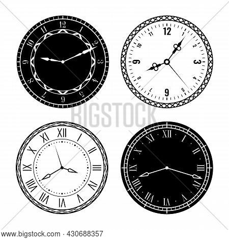 Clock Faces. Elegant Design Parts Watches With Roman And Arabic Numerals, Carved Clock Hands On Whit