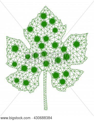 Mesh Grape Leaf Polygonal 2d Vector Illustration, With Virus Centers. Carcass Model Is Created From