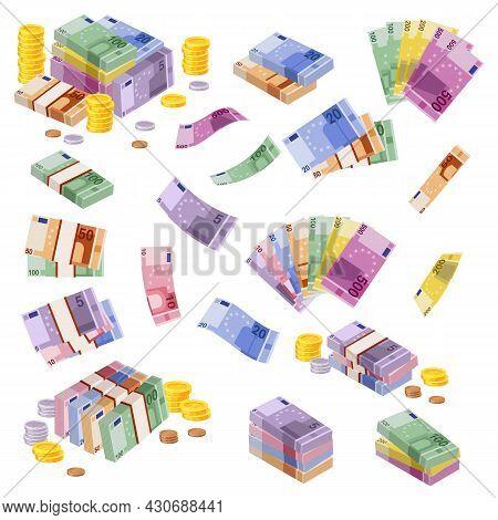 Isometric Euro Banknotes. Cash Money. Various Euros Bundles And Coins. 3d Financial Awards. European