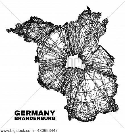 Carcass Irregular Mesh Brandenburg Land Map. Abstract Lines Form Brandenburg Land Map. Wire Carcass