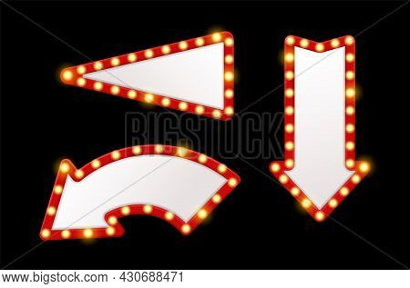 Light Arrows Pointers. Shining Retro Design Signs With Bulbs Around Red Frames. Vintage Show Lighted