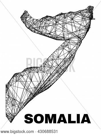 Carcass Irregular Mesh Somalia Map. Abstract Lines Form Somalia Map. Linear Carcass 2d Network In Ve