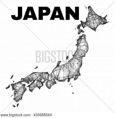 Net Irregular Mesh Japan Map. Abstract Lines Form Japan Map. Wire Carcass 2d Net In Vector Format. V