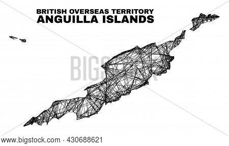 Wire Frame Irregular Mesh Anguilla Islands Map. Abstract Lines Form Anguilla Islands Map. Wire Frame