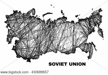 Carcass Irregular Mesh Soviet Union Map. Abstract Lines Are Combined Into Soviet Union Map. Linear C