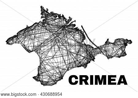 Network Irregular Mesh Crimea Map. Abstract Lines Are Combined Into Crimea Map. Wire Carcass 2d Netw