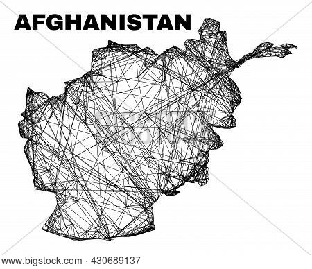 Wire Frame Irregular Mesh Afghanistan Map. Abstract Lines Are Combined Into Afghanistan Map. Wire Fr