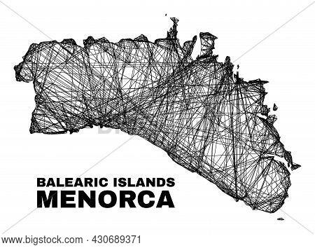 Network Irregular Mesh Menorca Island Map. Abstract Lines Form Menorca Island Map. Wire Frame 2d Net