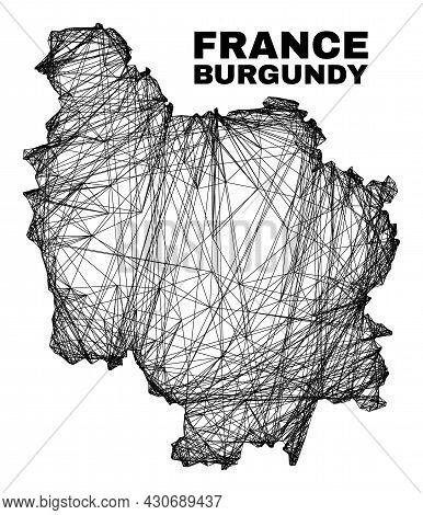 Wire Frame Irregular Mesh Burgundy Province Map. Abstract Lines Form Burgundy Province Map. Wire Fra