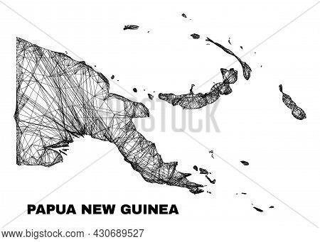 Wire Frame Irregular Mesh Papua New Guinea Map. Abstract Lines Form Papua New Guinea Map. Wire Carca